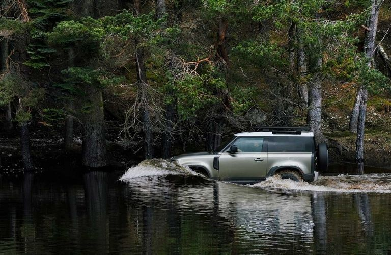 2021 Land Rover Defender driving in water