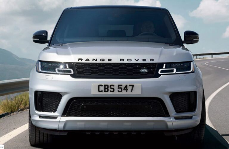 Front view of silver 2020 Land Rover Range Rover Sport