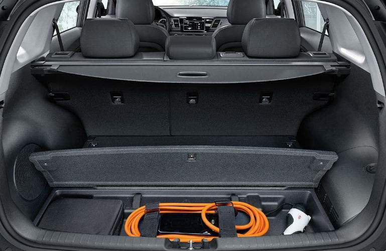 2018 Kia Niro Plug-in Hybrid cargo area with 120-volt charging cable