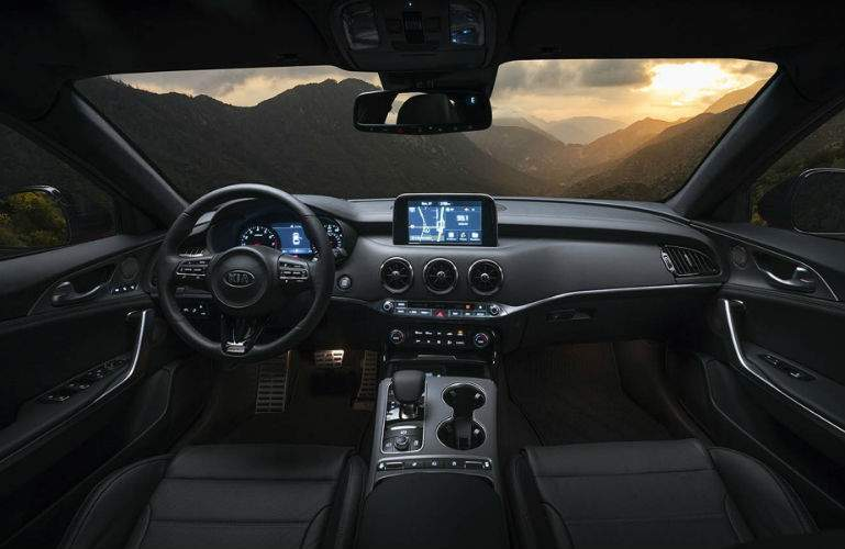 2018 Kia Stinger front interior showing UVO infotainment system