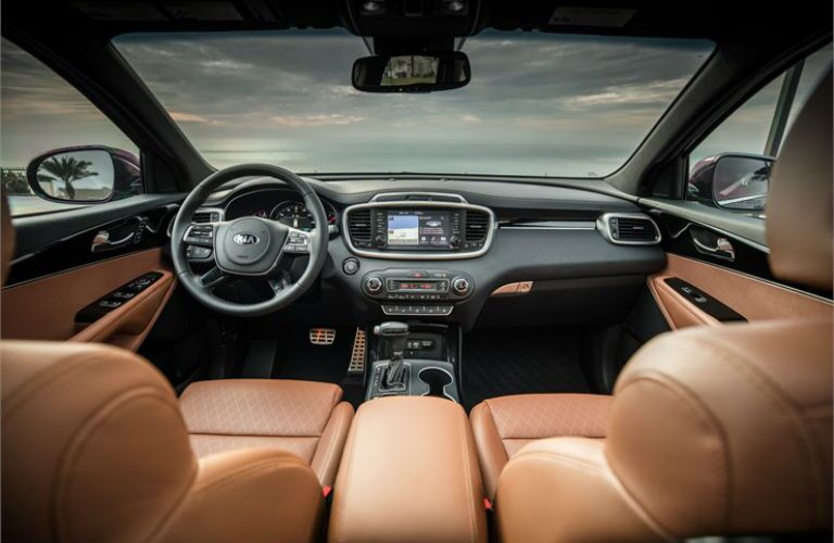 2019 Kia Sorento front interior looking out at the sky