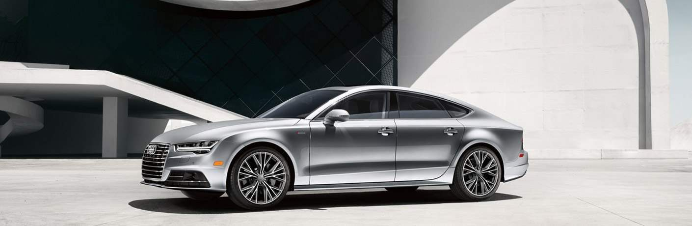 Silver Audi Sedan Side and Front End Exterior View