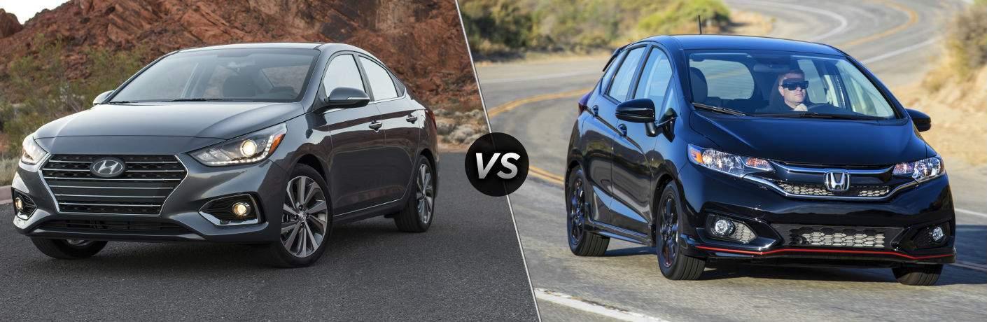 2018 Hyundai Accent Exterior Driver Side Front vs 2018 Honda Fit Exterior Passenger Side Front