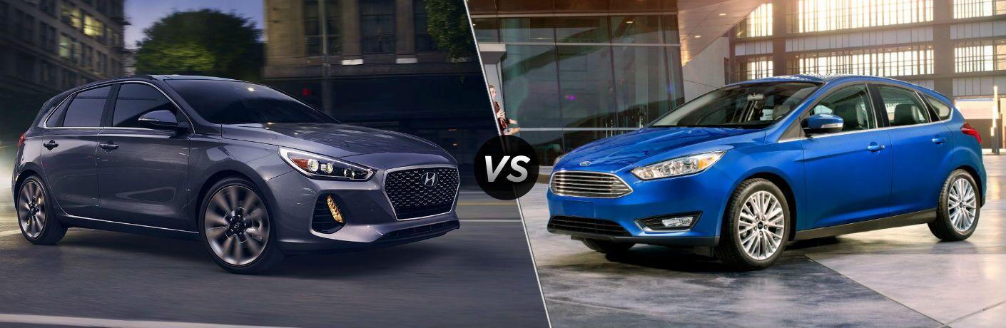 2018 Hyundai Elantra GT Exterior Passenger Side Front vs 2018 Ford Focus Hatchback Exterior Driver Side Front