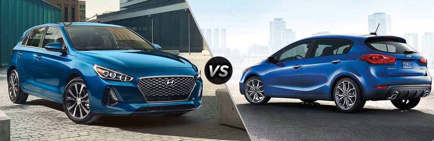 2018 Hyundai Elantra Exterior Passenger Side Front vs 2018 Kia Forte5 Exterior Driver Side Rear