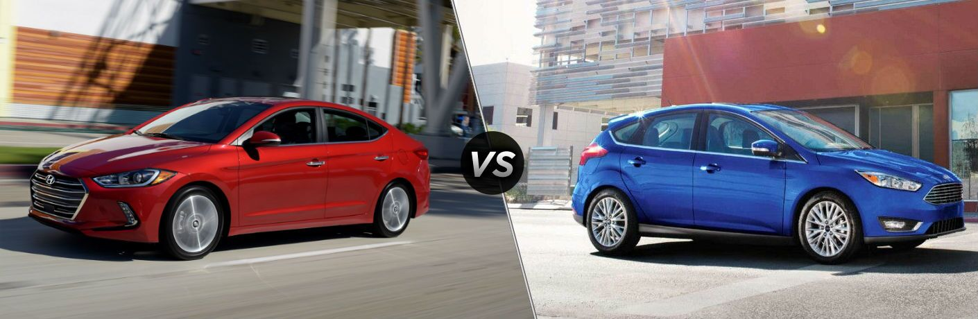 2018 Hyundai Elantra Exterior Driver Side Profile vs 2018 Ford Focus Exterior Passenger Side Profile