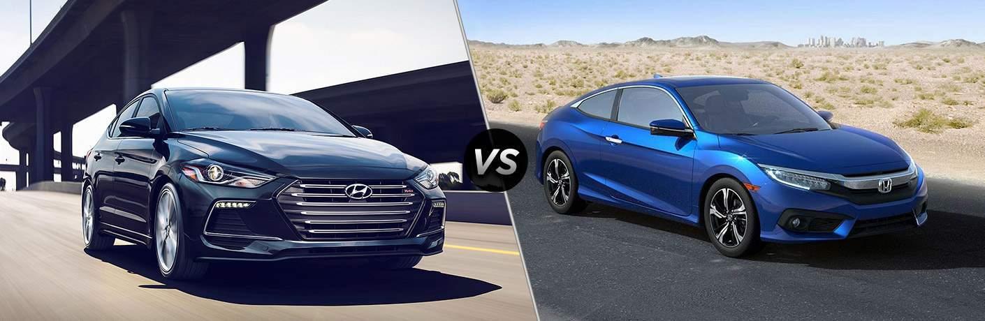 2018 Hyundai Elantra Exterior Front vs 2018 Honda Civic Exterior Front