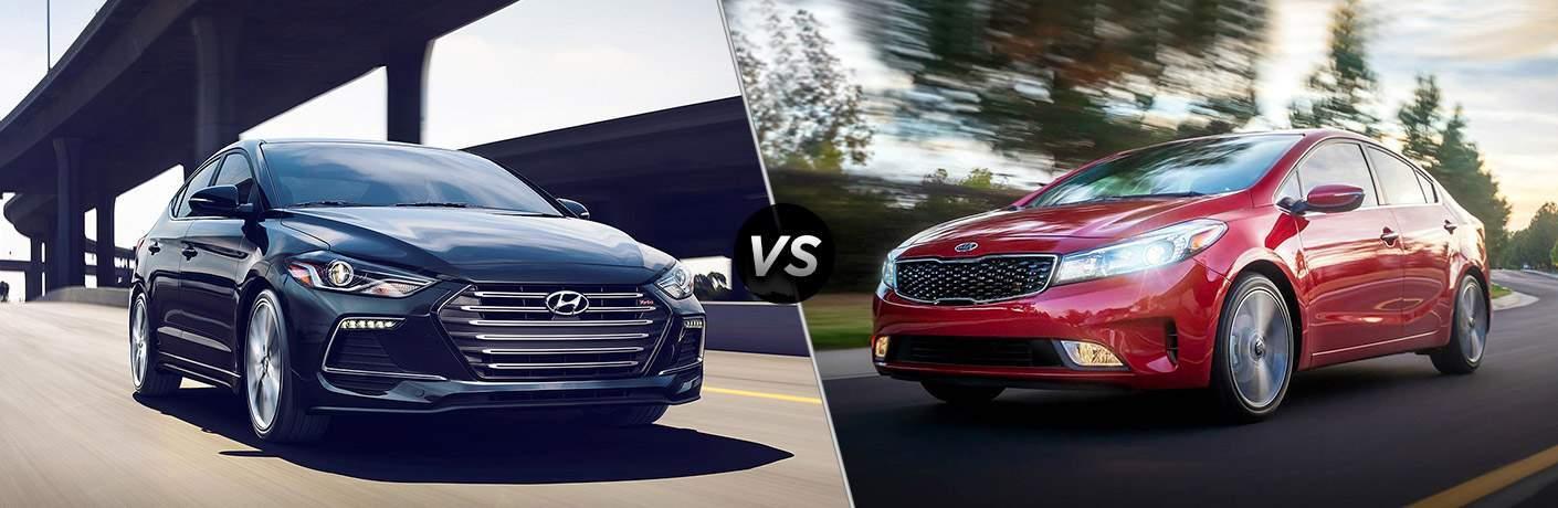 2018 Hyundai Elantra Exterior Passenger Side Front vs 2018 Kia Forte Exterior Driver Side Front