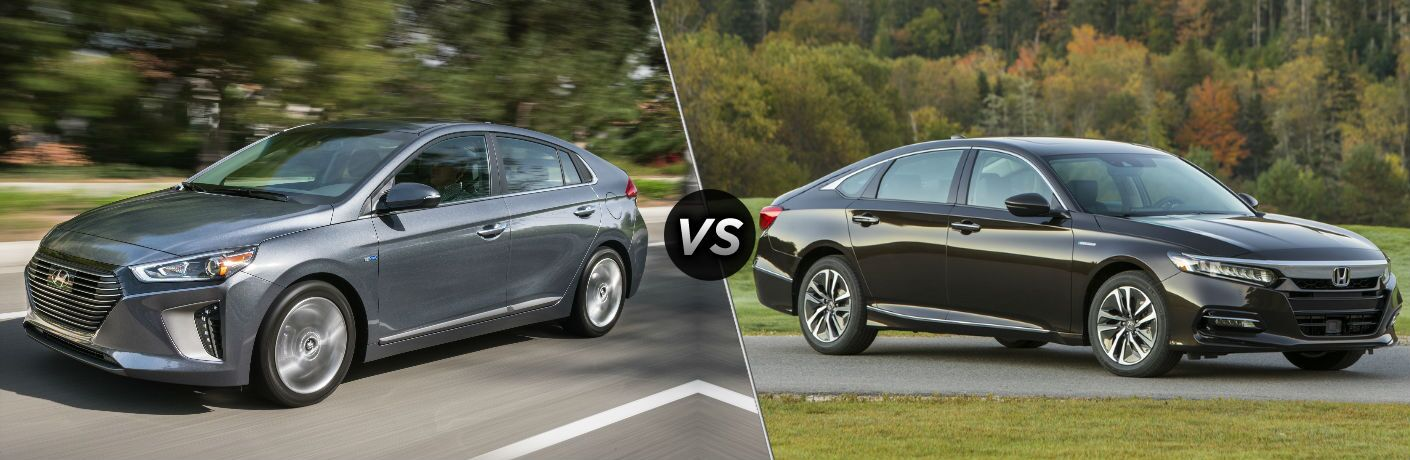 2018 Hyundai Ioniq Hybrid Exterior Driver Side Front vs 2018 Honda Accord Hybrid Exterior Passenger Side Front