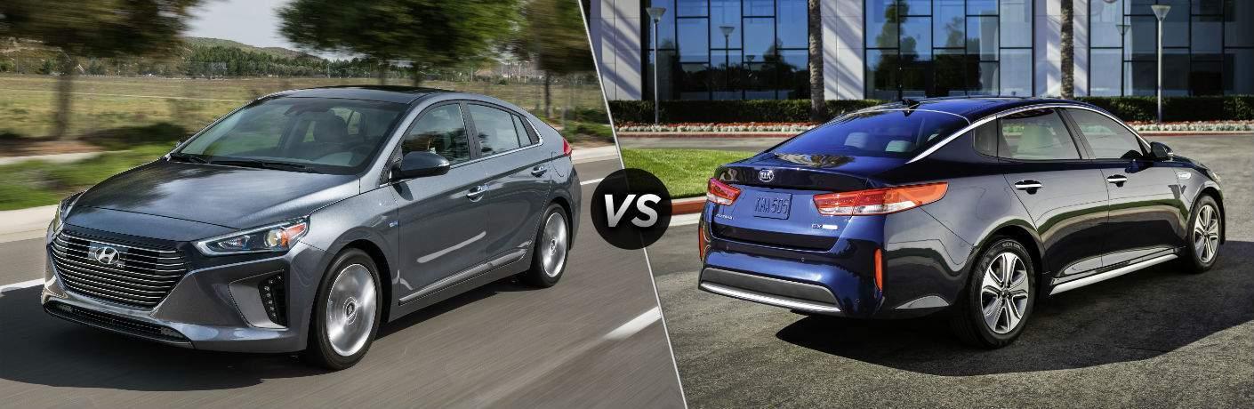 2018 Hyundai Ioniq Hybrid Exterior Driver Side Front vs 2018 Kia Optima Hybrid Exterior Passenger Side Rear