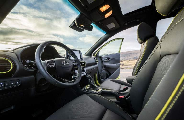 2018 Hyundai Kona Interior Cabin Front Seats and Dashboard Door Open