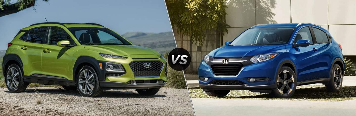 2018 Hyundai Kona Exterior Passenger Side Front vs 2018 Honda HR-V Exterior Driver Side Front