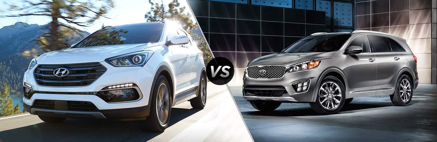 2018 Hyundai Santa Fe Exterior Driver Side Front vs 2018 Kia Sorento Exterior Driver Side Front