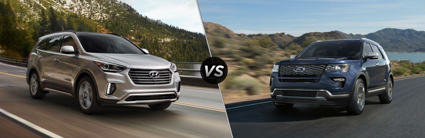 2018 Hyundai Santa Fe Exterior Passenger Side Front vs 2018 Ford Explorer Exterior Driver Side Front