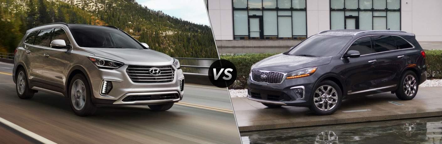 2018 Hyundai Santa Fe Sport Exterior Passenger Side Front vs 2018 Kia Sorento Exterior Driver Side Front