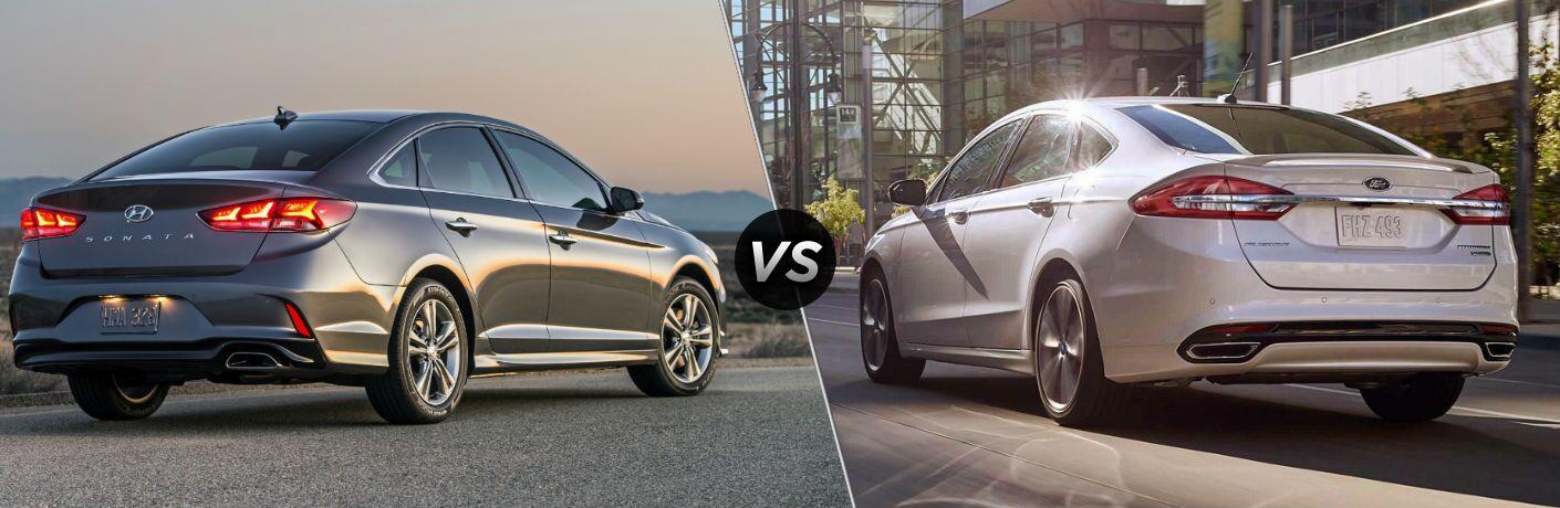 2018 Hyundai Sonata 2018 Hyundai Santa Fe Sport Exterior Passenger Side Rear vs 2018 Ford Fusion Exterior Driver Side Rear