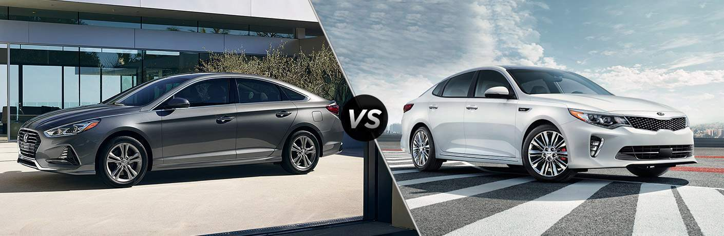 2018 Hyundai Sonata Exterior Driver Side Profile vs 2018 Kia Optima Exterior Passenger Side Profile