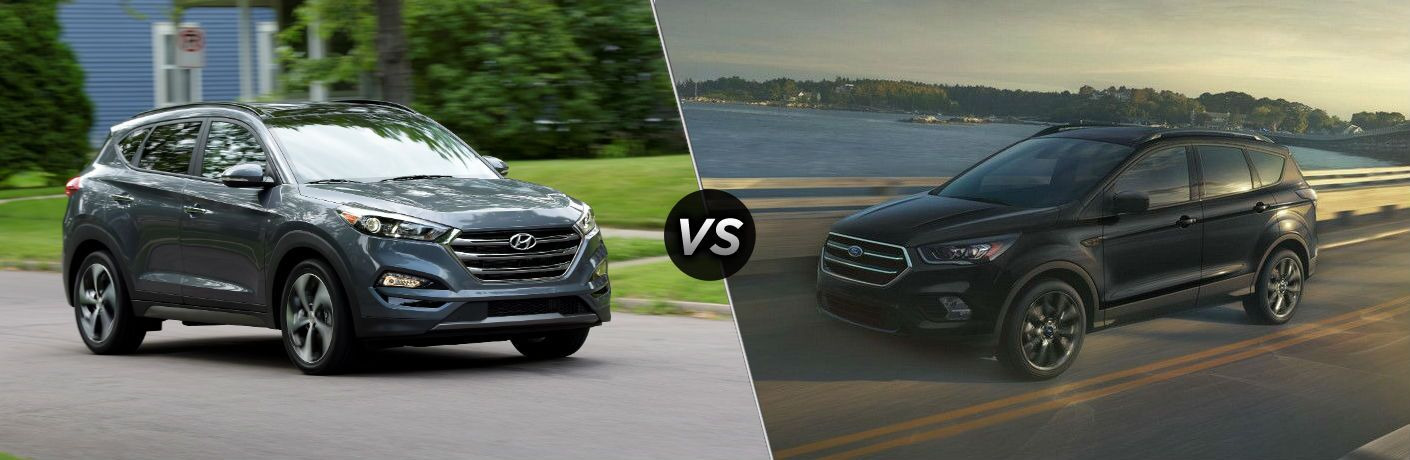 2018 Hyundai Tucson Exterior Passenger Side Front vs 2018 Ford Escape Exterior Driver Side Front