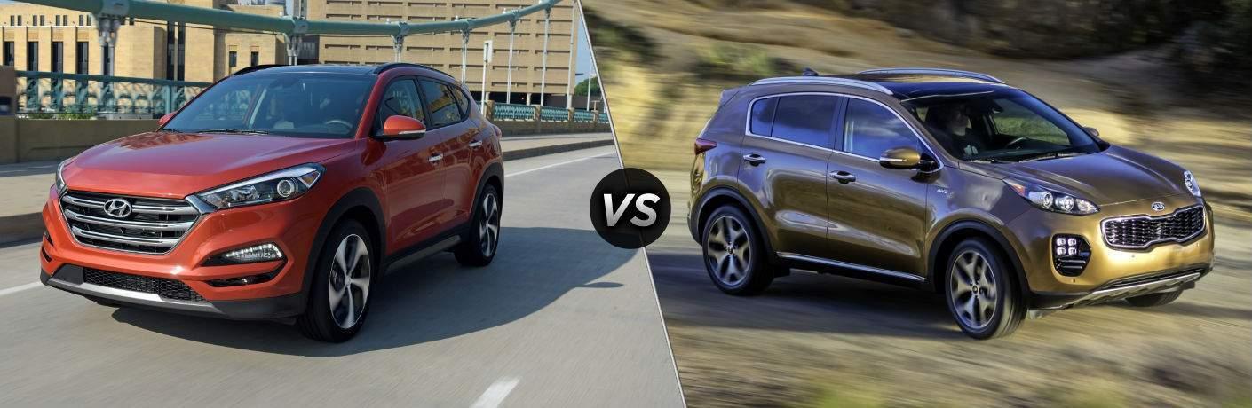 2018 Hyundai Tucson Exterior Driver Side Front vs 2018 Kia Sportage Exterior Passenger Side Front