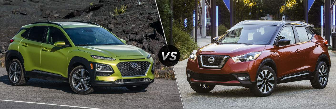 2018 Hyundai Kona Exterior Passenger Side Front vs 2018 Nissan Kicks Exterior Driver Side Front