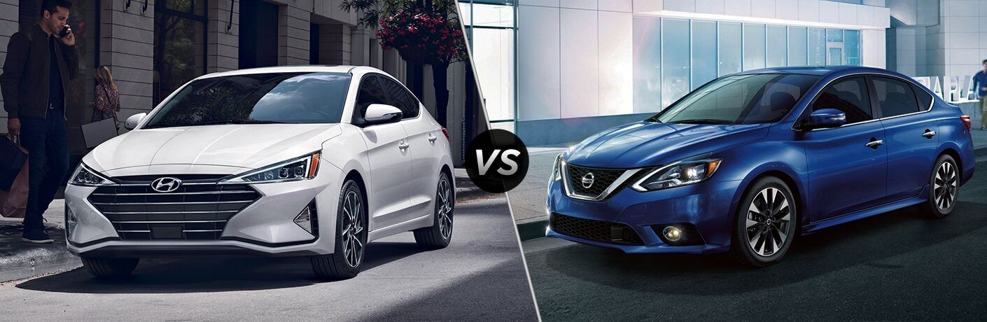 A white 2019 Hyundai Elantra on the left and a blue 2019 Nissan Sentra on the right with the text VS in the middle