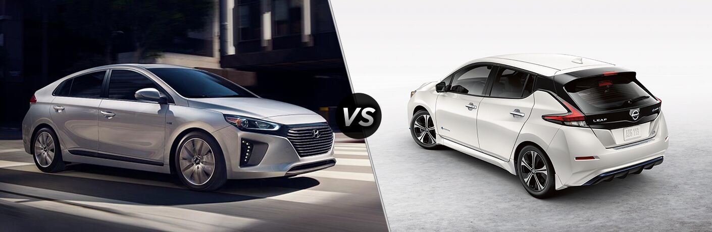 A silver 2019 Hyundai Ioniq on the left and a white 2019 Nissan LEAF on the right with the text VS in the middle