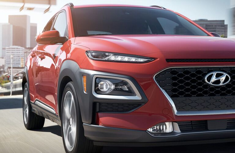 Close Up View of the Front Passenger Side of a Red 2019 Hyundai Kona