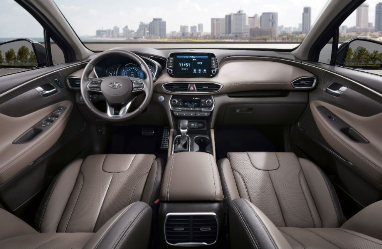 Front two seats and center dashboard of 2019 Hyundai Santa Fe