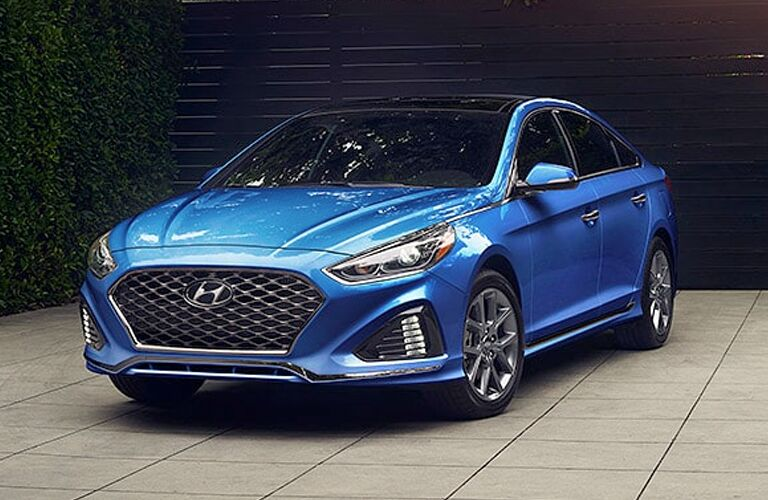 Front Driver View of a Blue 2019 Hyundai Sonata