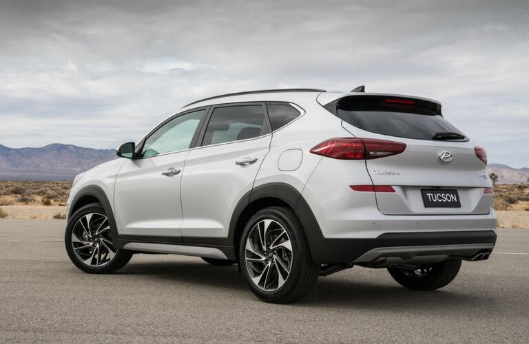 Rear Driver View of a White 2019 Hyundai Tucson