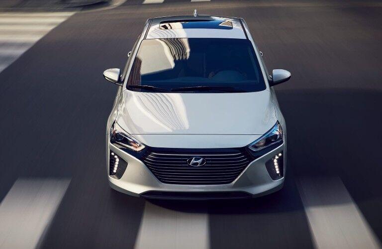 Front Upper View of a white 2019 Hyundai Ioniq