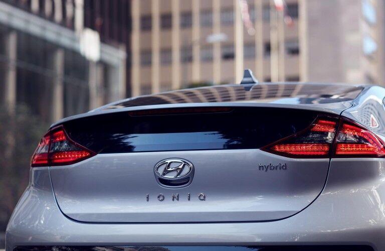 Rear View of a white 2019 Hyundai Ioniq