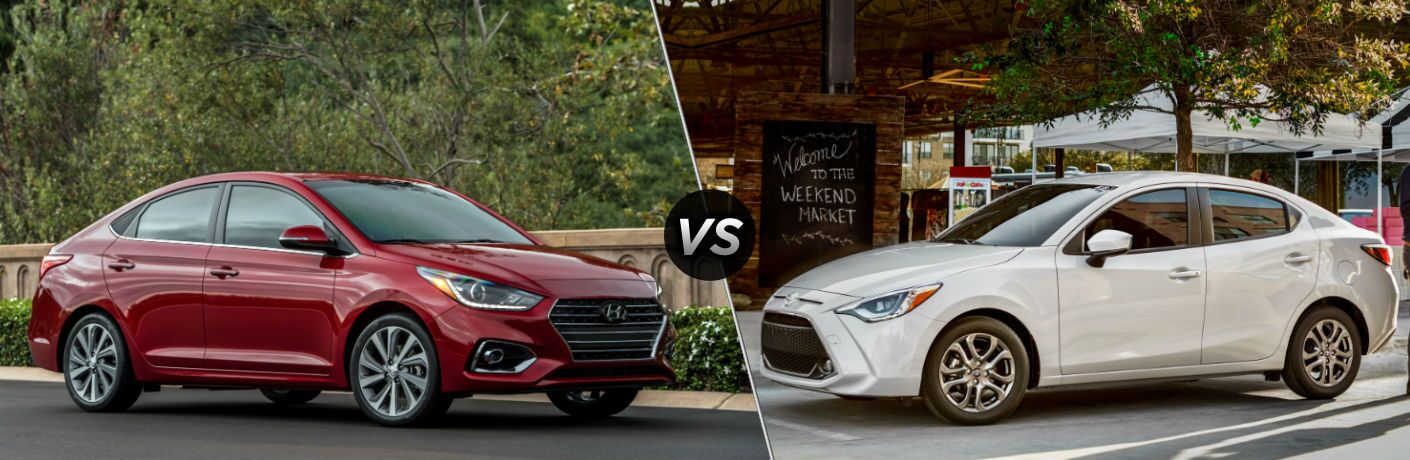 2019 Hyundai Accent Exterior Passenger Side Front Profile vs 2019 Toyota Yaris Exterior Driver Side Front Profile