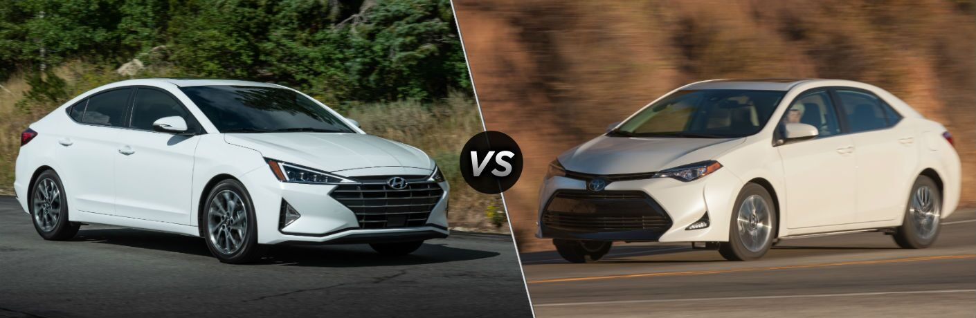 2019 Hyundai Elantra Exterior Passenger Side Front Profile vs 2019 Toyota Corolla Exterior Driver Side Front Profile