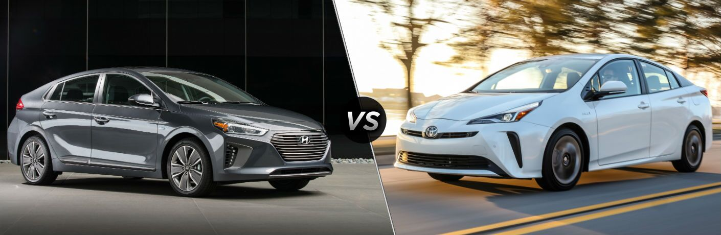 2019 Hyundai Ioniq Exterior Passenger Side Front Profile vs 2019 Toyota Prius Exterior Driver Side Front Profile