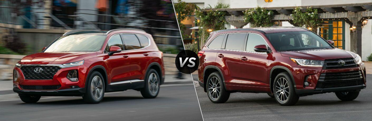 2019 Hyundai Santa Fe Exterior Driver Side Front Profile vs 2019 Toyota Highlander Exterior Passenger Side Front Profile