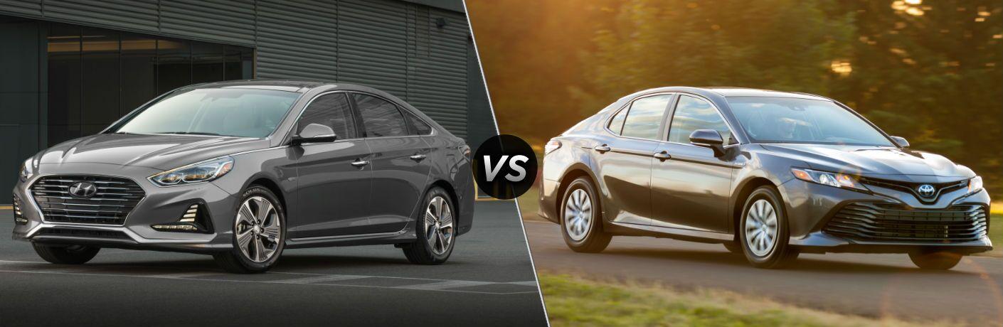 2019 Hyundai Sonata Hybrid Exterior Driver Side Front Profile vs 2019 Toyota Camry Hybrid Exterior Passenger Side Front Profile