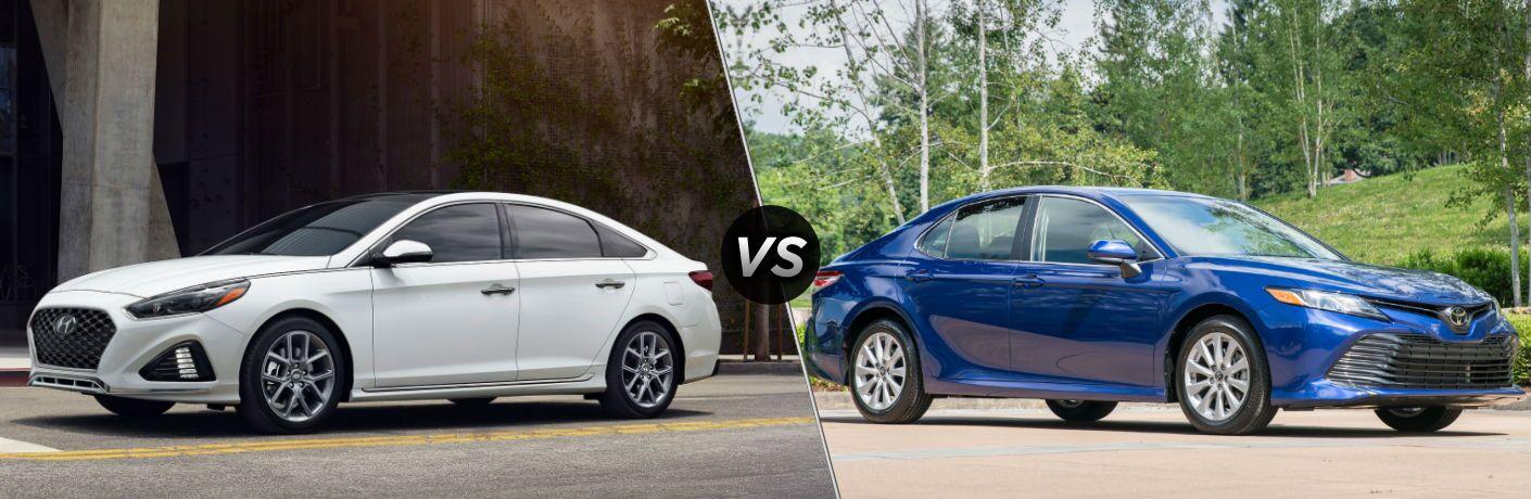2019 Hyundai Sonata Exterior Driver Side Front Profile vs 2019 Toyota Camry Exterior Passenger Side Front Profile