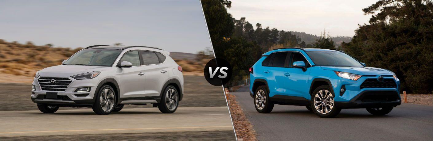 2019 Hyundai Tucson Exterior Driver Side Front Profile vs 2019 Toyota RAV4 Exterior Passenger Side Front Profile