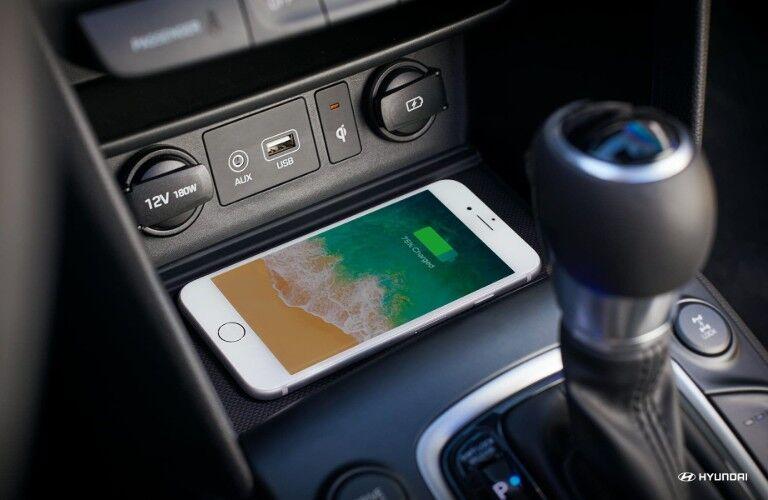 iPhone charging wirelessly inside 2019 Hyundai Kona