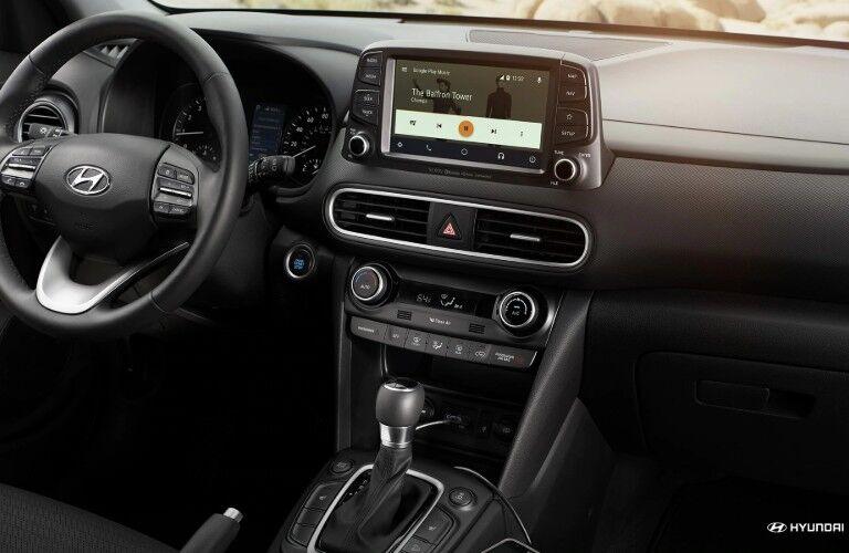 Steering wheel and touchscreen of 2019 Hyundai Kona