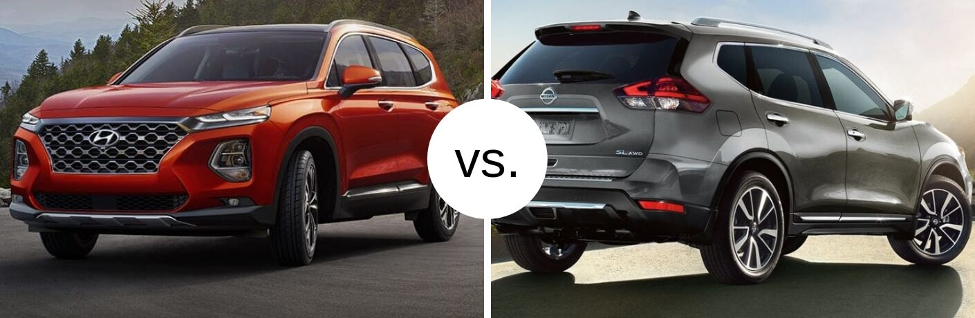 2019 Hyundai Santa Fe and 2019 Nissan Rogue in comparison image
