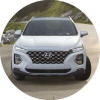 2019 Hyundai Santa Fe white front circle
