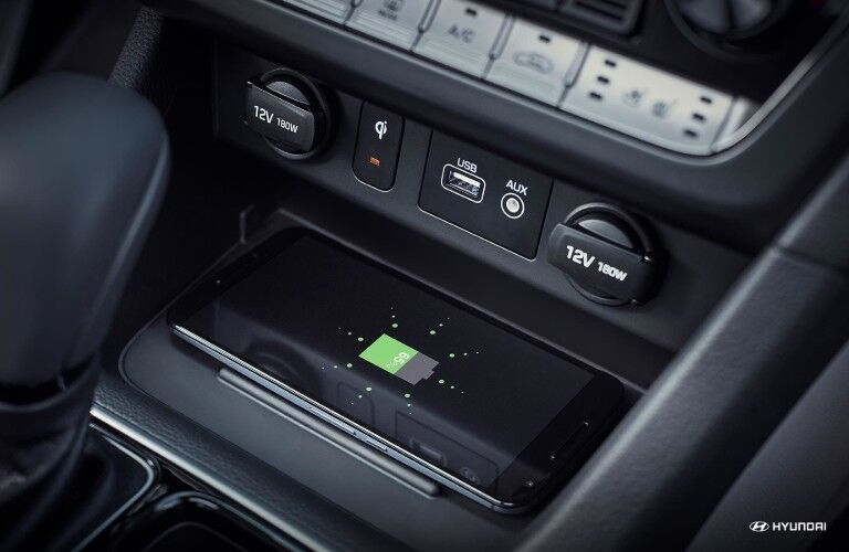 Wireless device charging inside 2019 Hyundai Sonata