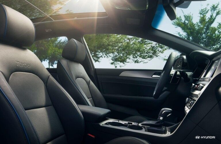 Front two seats and sunroof of 2019 Hyundai Sonata