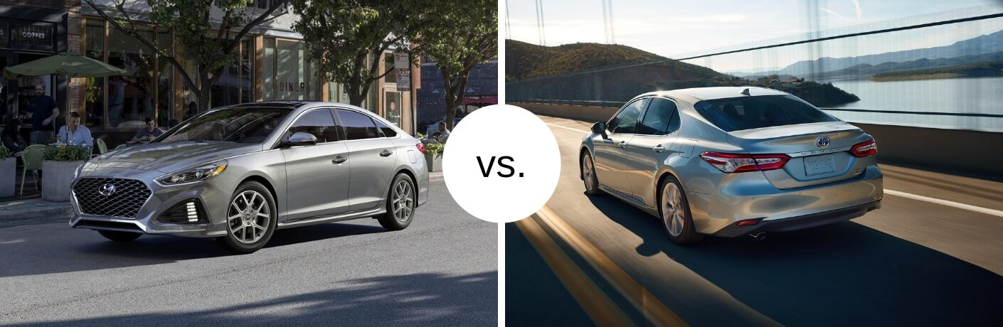 Hyundai Sonata and Toyota Camry next to each other in comparison image