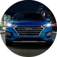 2019 Hyundai Tucson blue front view circle