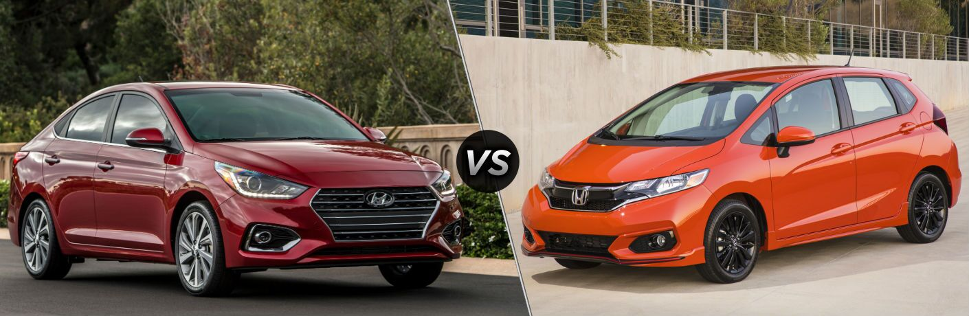 2020 Hyundai Accent Exterior Passenger Side Front Profile vs 2020 Honda Fit Exterior Driver Side Front Profile