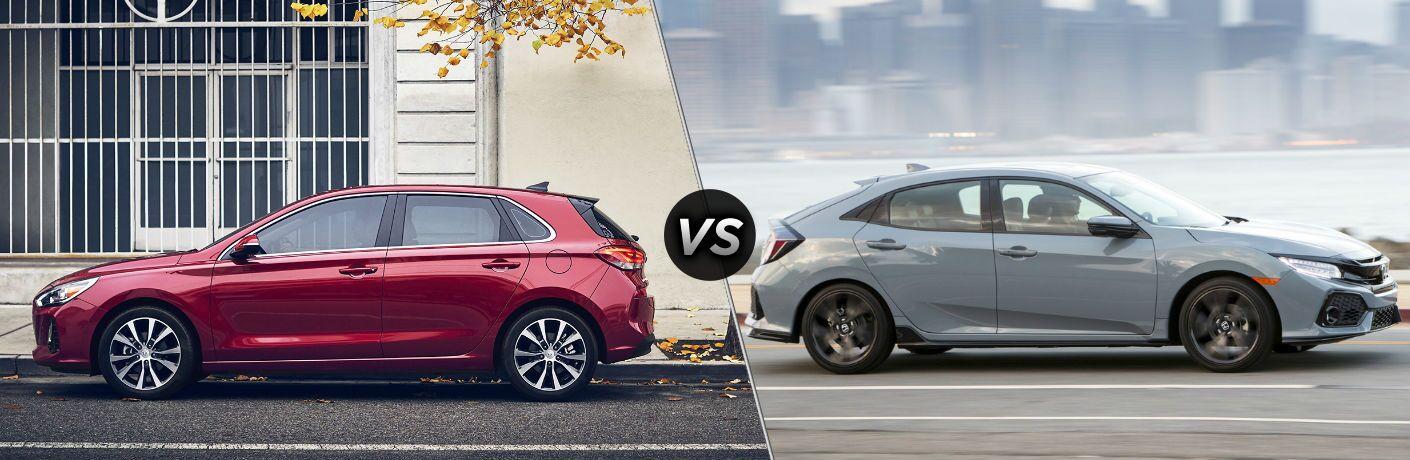 2020 Hyundai Elantra GT Exterior Driver Side Profile vs 2020 Honda Civic Hatchback Exterior Passenger Side Profile