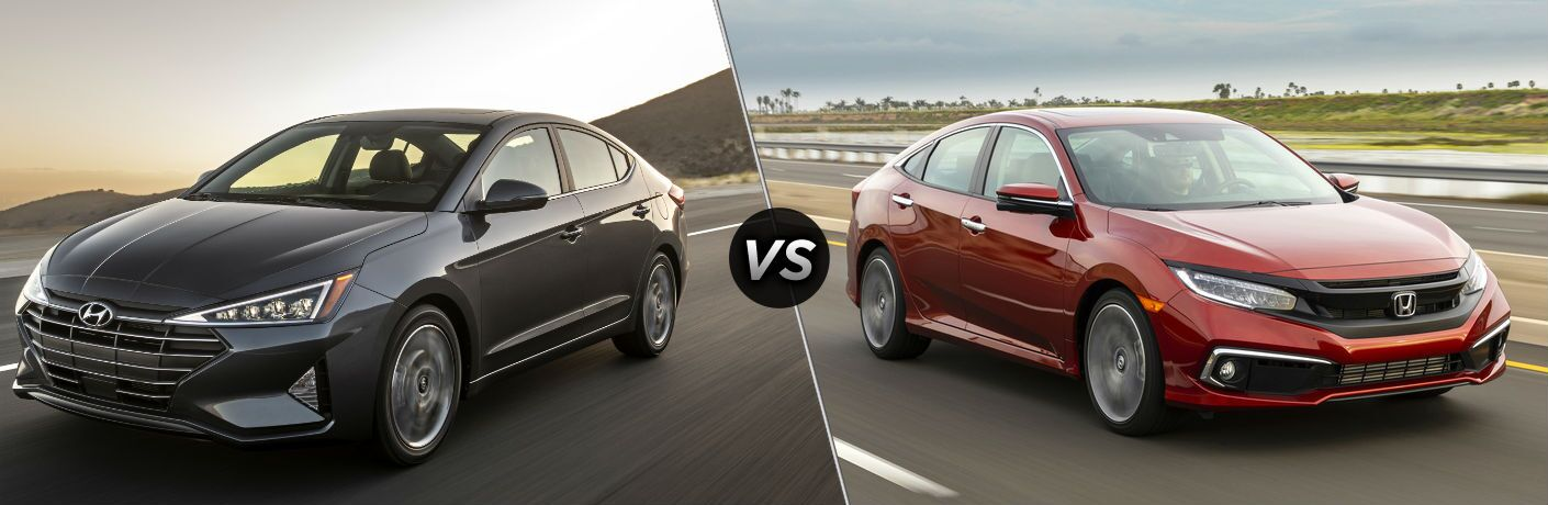 2020 Hyundai Elantra Driver Side Front Profile vs 2020 Honda Civic Sedan Exterior Passenger Side Front Profile